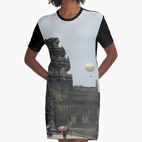 Angkor Wat with Parachute in cambodia Design Graphic T-Shirt Dress