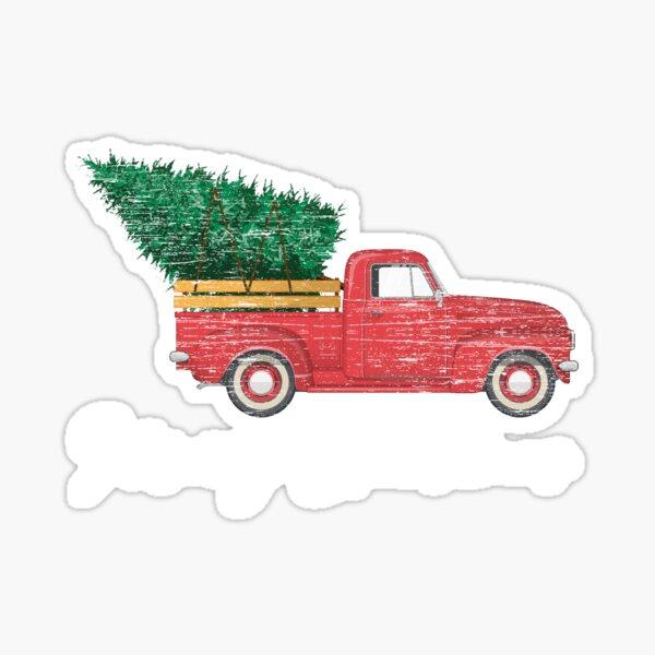 Vintage Wagon Christmas - Truck Christmas Tree Sticker
