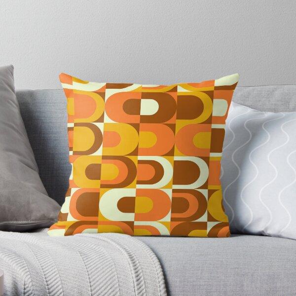 70s Pattern Retro Inustrial en tonos naranja y marrón Cojín