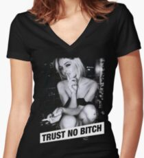 TRUST NO BITCH Women's Fitted V-Neck T-Shirt