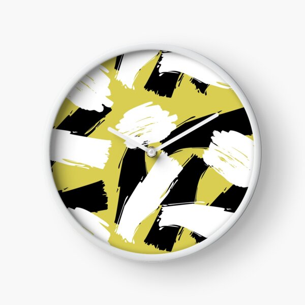 Black and White Mid Century Modern Paint Stripes Yellow Clock