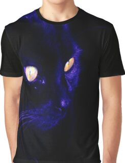Black Cat With Haunting Halloween Eyes Graphic T-Shirt