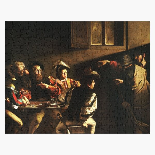 The Calling of Saint Matthew, masterpiece, Michelangelo Merisi da Caravaggio, #People, #group, #adult, #art, music, indoors, furniture, painting, flame, men, home interior, light, natural phenomenon Jigsaw Puzzle