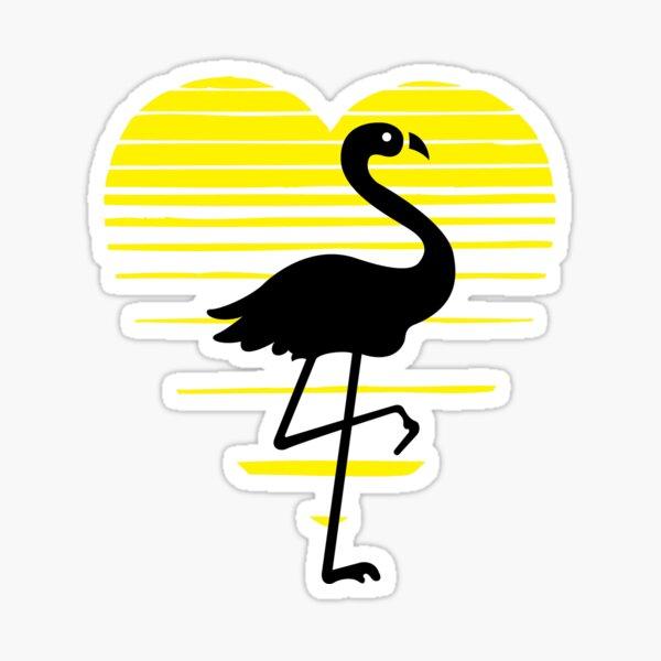 Flamingo lady love silhouette, sunset heart. Flamingo lover gift Sticker