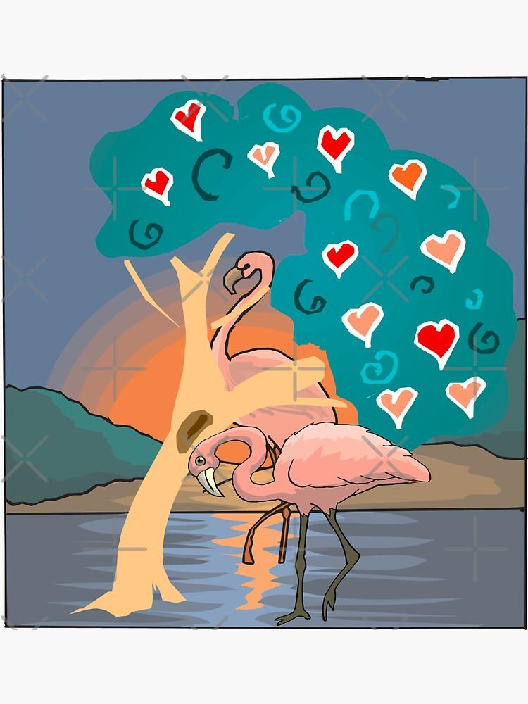 Flamingo lady sunset scenery, sunset lover. Flamingo lover gift by CWartDesign