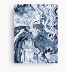 Isao - spilled ink art print marble blue indigo india ink original waves ocean watercolor painting Canvas Print