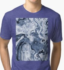 Isao - spilled ink art print marble blue indigo india ink original waves ocean watercolor painting Tri-blend T-Shirt