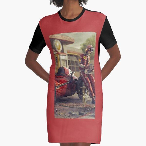 Vintage ferrari f1 driver formula 1 driver portrait art Graphic T-Shirt Dress