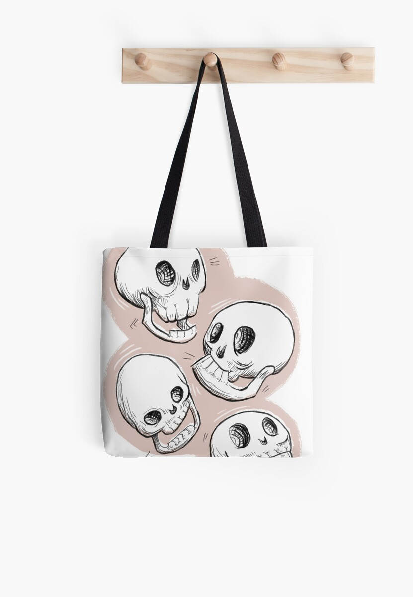 Four Skulls in Pastel Pink by Charlie Pringle
