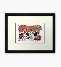 Little Red Riding Hood Print with wolf, forest Framed Print