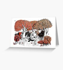 Little Red Riding Hood Print with wolf, forest Greeting Card