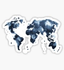 Watercolor map of the world (black and white) Sticker