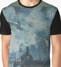 Claude Monet - Arrival of the Normandy Train  Gare Saint-Lazare  Graphic T-Shirt