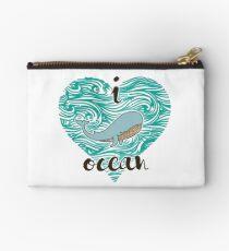 i love ocean (happy whale) Ocean Studio Pouch
