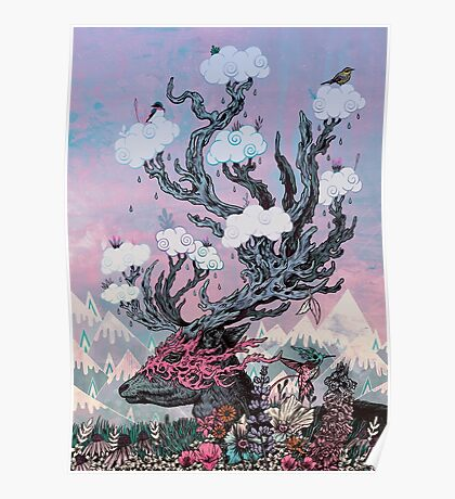 Journeying Spirit (deer) sunset Poster