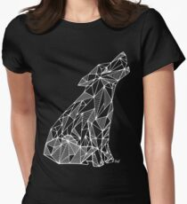 Wolf (white) - geometric Womens Fitted T-Shirt