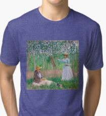 Claude Monet - In the Woods at Giverny Blanche Hoschedé at Her Easel with Suzanne Hoschedé Reading , Impressionism Tri-blend T-Shirt