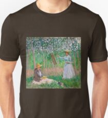 Claude Monet - In the Woods at Giverny Blanche Hoschedé at Her Easel with Suzanne Hoschedé Reading , Impressionism Unisex T-Shirt
