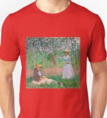 Claude Monet - In the Woods at Giverny Blanche Hoschedé at Her Easel with Suzanne Hoschedé Reading , Impressionism T-Shirt