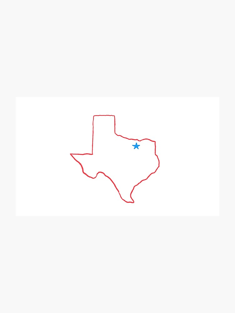 Texas outline red. Dallas photographic print