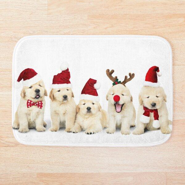 Xmas Golden Retriever Puppies Bath Mat
