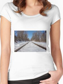 HDR Snowy Train Tracks Women's Fitted Scoop T-Shirt