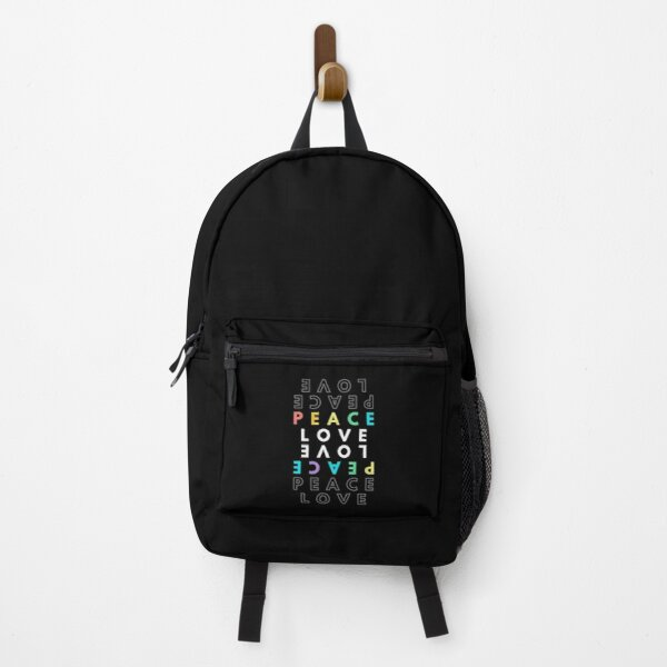 peace love colorful hippie quote Backpack