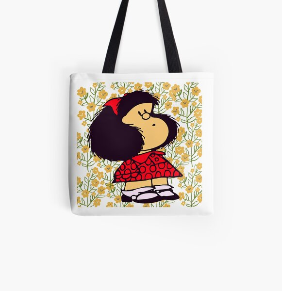 Mafalda and flowers Bolsa estampada de tela