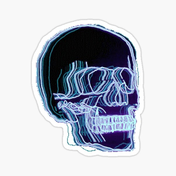 Neon Trippy Skull Sticker