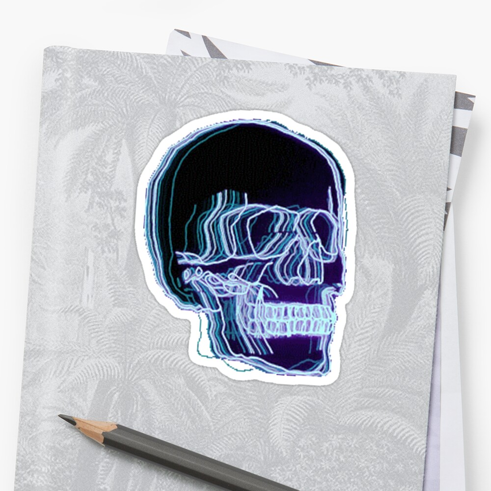 Quot Neon Trippy Skull Quot Sticker By Amandabrynn Redbubble