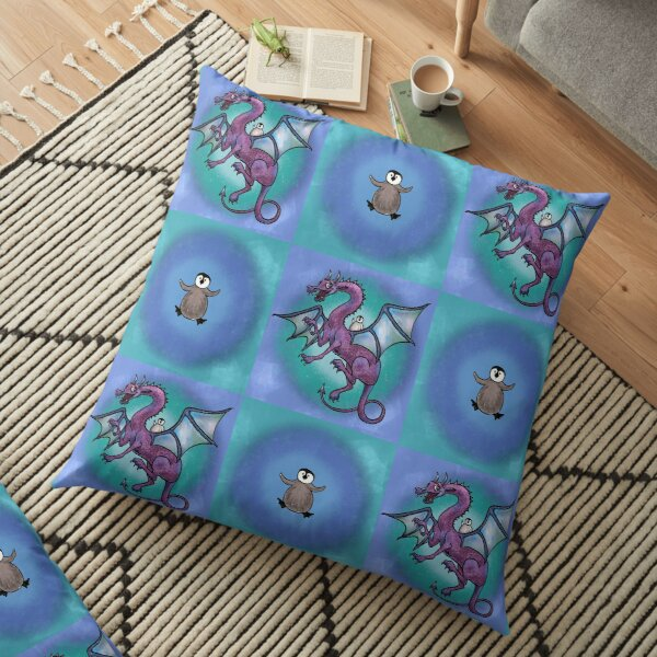 Penguin and Dragon Save the Day Floor Pillow