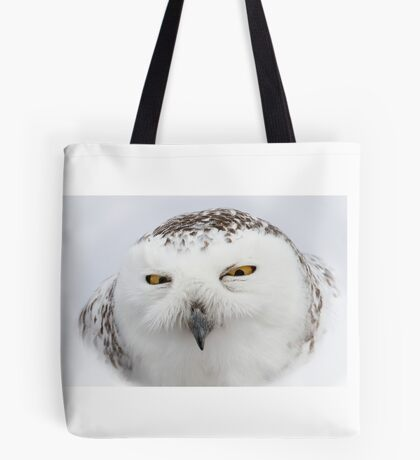 """Whooo goes there?"" - Snowy Owl Tote Bag"