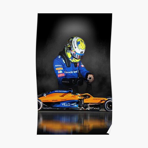 Lando Norris Mclaren F1 fond sombre de voiture à l'honneur Poster