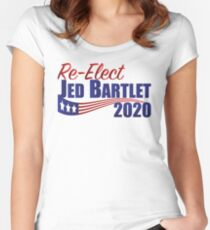 Re-Elect Jed Bartlet 2020 - Flag Underline Women's Fitted Scoop T-Shirt
