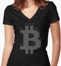 Bitcoin ASCII Tee Women's Fitted V-Neck T-Shirt