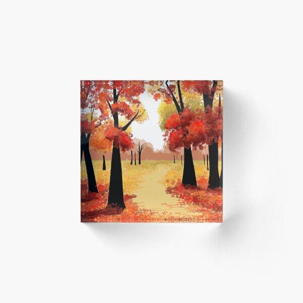 Red Autumn Trees Acrylic Block