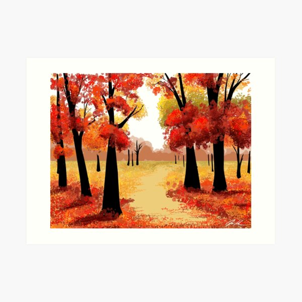 Red Autumn Trees Art Print