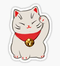 Beckoning Cat: White Sticker