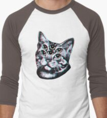 Psychedelic Cat (3D vintage effect) Baseball ¾ Sleeve T-Shirt