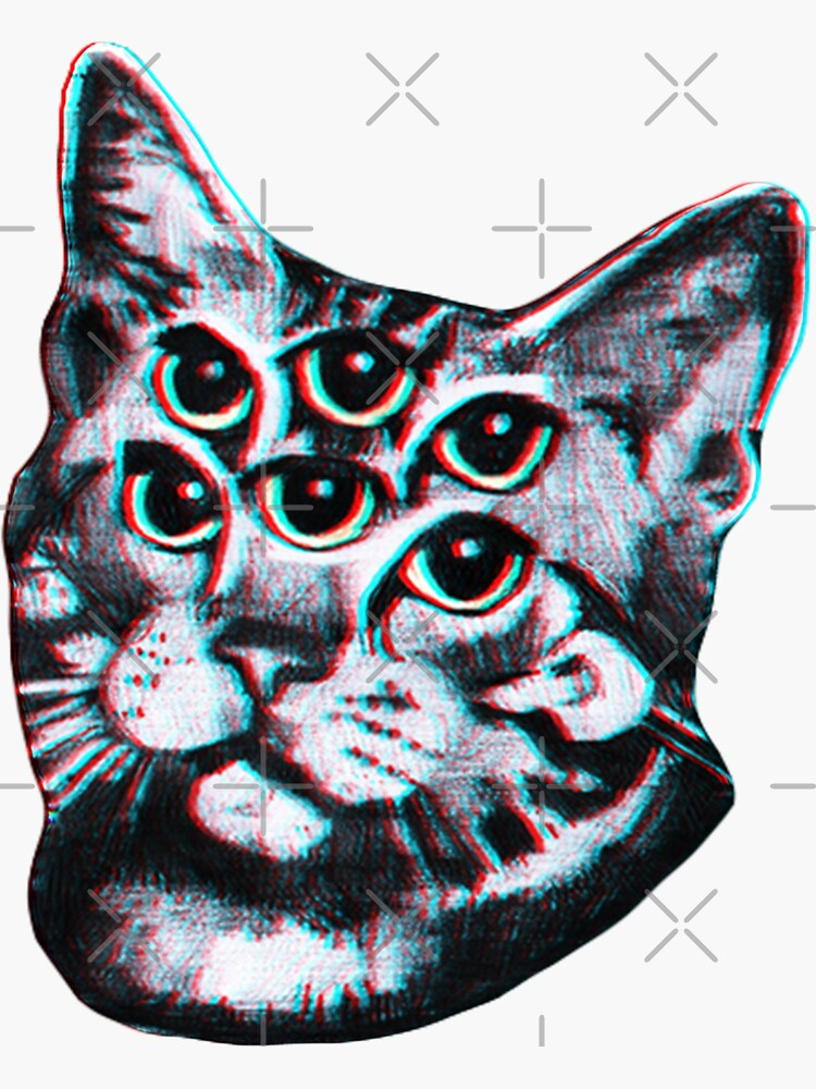Psychedelic Cat (3D vintage effect) by Doge21