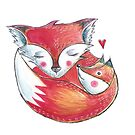 Fox Love Watercolor by Willow Heath