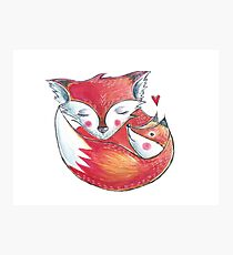 Fox Love Watercolor Photographic Print