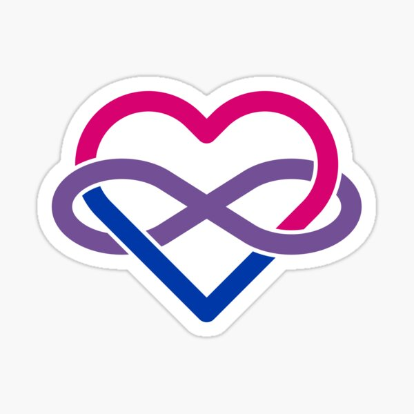 Bisexual Polyamory Infinity Heart Sticker