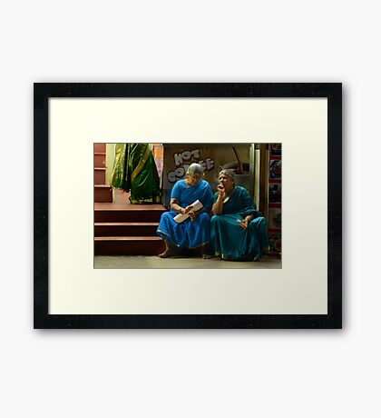 A Bit of a Chat Framed Print