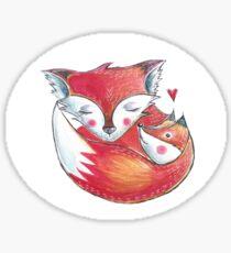 Fox Love Watercolor Sticker