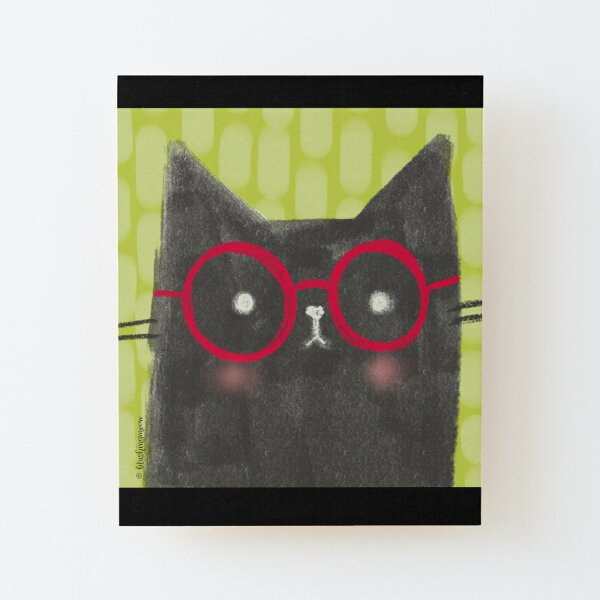 Nerdy The Cat Wood Mounted Print