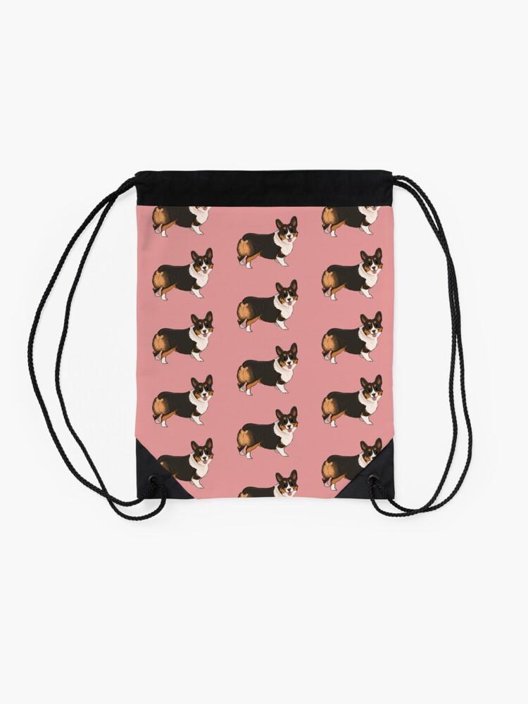 Alternate view of Marnie the corgi! Drawstring Bag