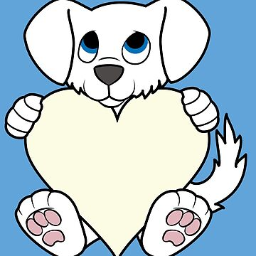 Valentine's Day White Dog with Cream Heart by Grifynne