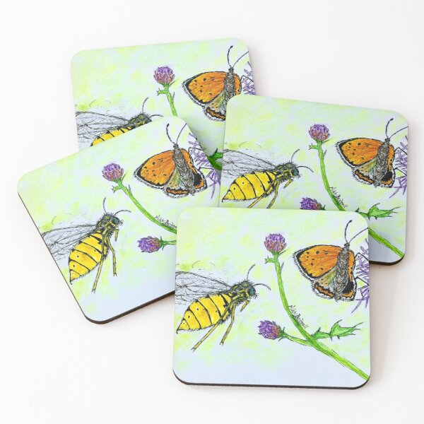Butterfly Wasp Attack Coasters (Set of 4)
