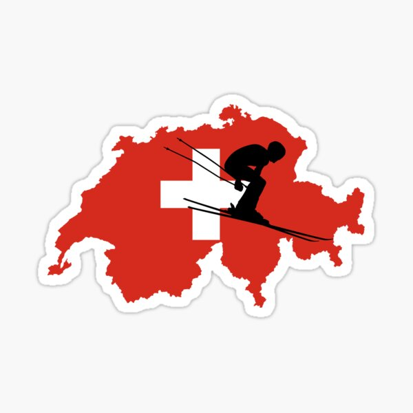 Skiing Swiss alps skiing Sticker